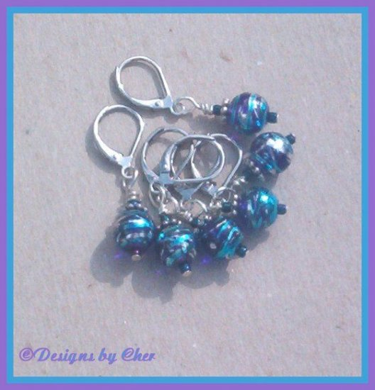 Purple, Blue & Silver STITCH MARKERS - Set of 6 - Handmade