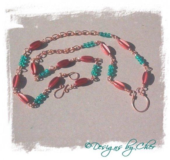 Crackles n Copper Hammered Eyeglass Holder Pendant Necklace HANDMADE