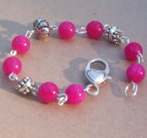 Hot Pink Candy Jade Bracelet with Heart Lobster Clasp... Gumballs