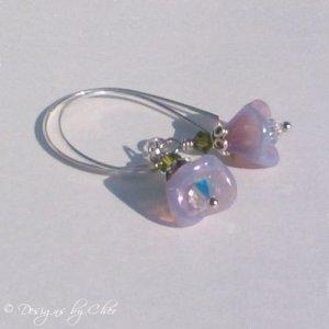 Lilac Luster Flower & Swarovski Crystal Silver Earrings
