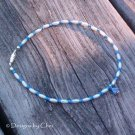 Blue Flower Anklet, White Pearlized Rice Beads