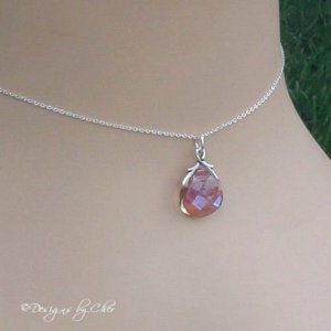 Purple Haze... Crystal Briolette Pendant on Custom Sterling Chain