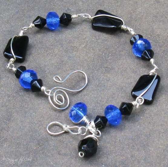 Black and Blue Glass Sterling Bracelet, Wire Wrapped, Handmade Clasp