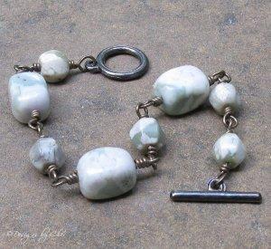 PEACE STONE Handcoiled Gunmetal Toggle Bracelet