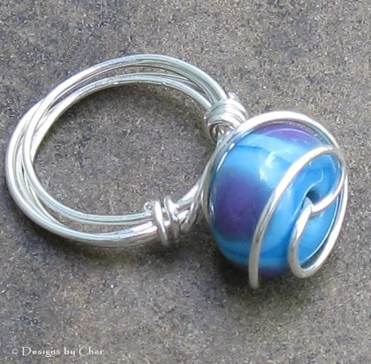 Blurple Lampwork Ring, Wrapped in Sterling Silver