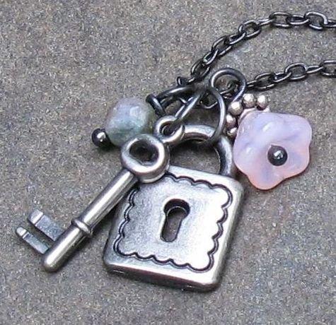 "Lock & Key Gunmetal Charm Necklace, Adjustable 15-18"""