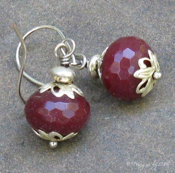 Ruby Quartz Rondelles, Capped Silver Earrings