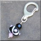 Pink & Black Lampwork Accessory, Purse Hanger, Zipper Pull