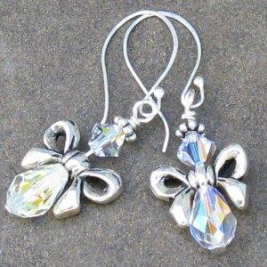Crystal Bow Angels, Swarovski & Sterling Silver