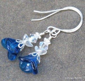 Blue Angels... Sterling Silver Earrings, Sweet and Petite!