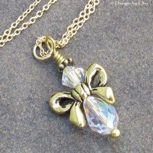Golden Bow Angel... Swarovski Crystals, Gold Filled Necklace