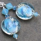 Aqua Ice Earrings ~ Lampwork Glass, Swarovski Crystals, Sterling Silver