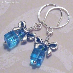 Gifts For Her Ears! Blue Zircon, Turquoise and Silver Earrings