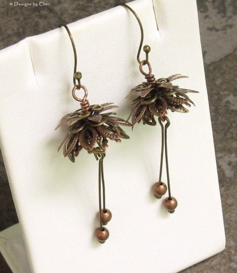 Layered Mixed Metal Flower Earrings, Antique Copper, Brass