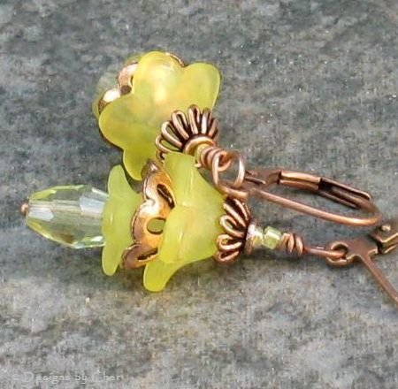 Sunny Yellow Lucite Layered Flower Earrings, Antique Copper Leverbacks