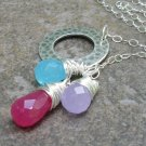 Candy Lariat... Gemstone Briolettes Wrapped in Fine Silver, Hammered Ring