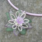 Lilac Flower Pendant on Lt Plum Greek Leather Cord Necklace