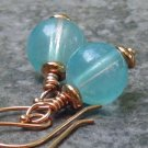 Aqua Orbs... Glass Wrapped in Copper, Handmade Earrings