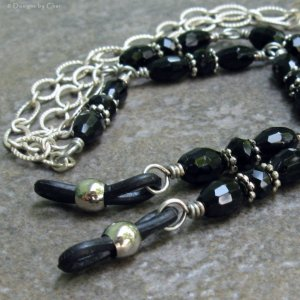 Black and Silver Eyeglass Holder Necklace, Textured Matte Silver Chain with Jet Glass Beads