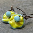 Sunny Ruffles...Yellow and Aqua Glass, Hand Forged Copper Earwires