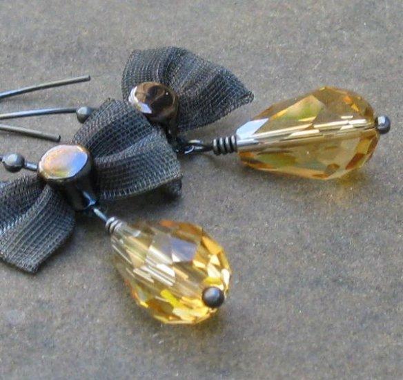 Golden Topaz Teardrops, Mesh Gunmetal Bows on Hand Formed Almond Earrings