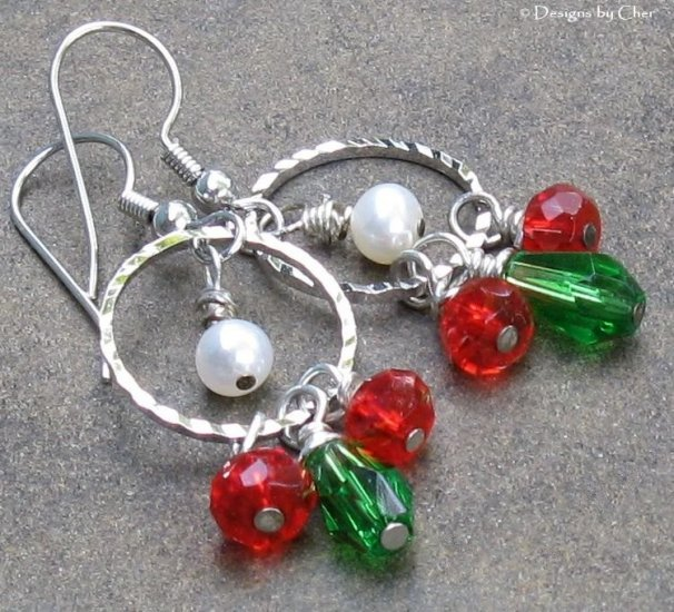 Diamond Cut Silver Hoops, Freshwater Pearl & Glass Earrings, FESTIVE