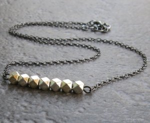 Lucky Seven Gunmetal Necklace - Stacked Faceted Silver Beads - Adjustable