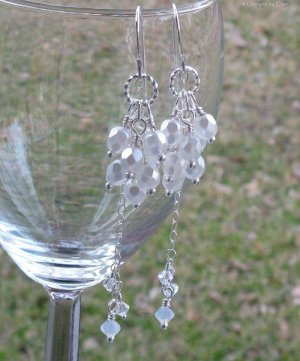 Pearlized Glass Cascade Silver Earrings, Convertible Dangles... Wedding, Bridal, Prom
