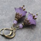 Lavender Jade & Lucite Flower Earrings, Antique Brass Leverbacks... Vintage Inspired