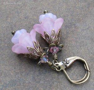 Pink Glass & Lucite Flower Earrings on Antique Brass Leverbacks