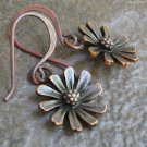 Dainty Daisy Dangle Earrings, Antique Copper Handmade Earwires
