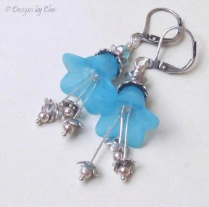 Electric Blue Lucite Flower Earrings, Sterling Silver Accents, Leverback Earwires