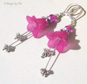 Hot Fuchsia Lucite Flower Earrings, Sterling Silver and Tibetan Beads, Leverbacks