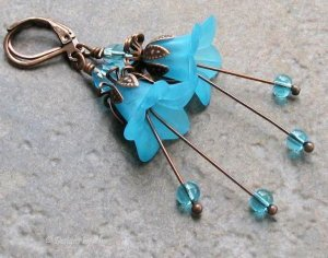 Bright Blue Antique Copper Lucite Flower Leverback Earrings, Czech Crystal & Glass