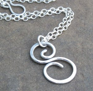 Hand Forged Aluminum S Swirl Pendant on Textured Silver Chain, Adjustable