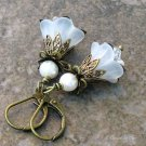 White Lucite Flower Earrings, Antique Brass Leverbacks... Vintage Spring Wedding