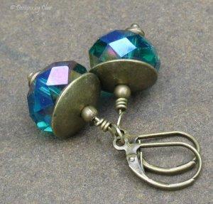 Bold Emerald Crystal Earrings, Antique Brass Leverbacks... Aurora Borealis Sparkle!