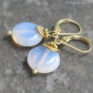 Pink Opalite Earrings, Gold Satin Leverbacks... Dainty Danglers