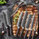 Japan knife 1-10 Pcs Set Kitchen Knives Laser Damascus Pattern Sharp Japanese Santoku Knife