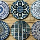 Drink Coasters Set Of 6 Turkish Persian Design Round Coaster Tea Coffee Cup Mat