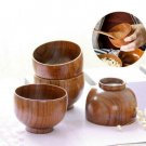 Japanese Styles Wooden Bowl Soup/Salad Rice Bowls Natural Wood Tableware Kitchen