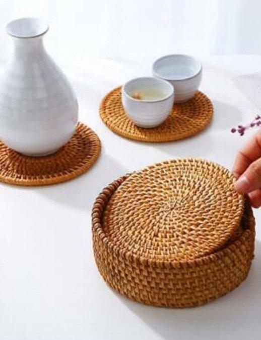 6Pcs/Set Vintage Rattan Coasters With Basket Handmade Woven Drink Mat Hot Sale 2
