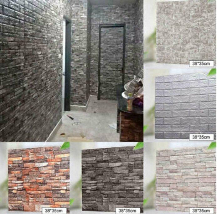 10pcs 3D Tile Brick Wall Sticker Waterproof Self-adhesive Foam Panel Wallpaper