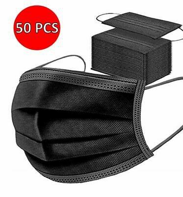 50 x Premium Quality - Face, Mouth & Nose Protection Black Masks UK