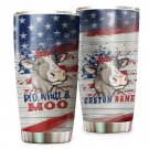 America Flag Red White Moo Cute Cow Custom Name Tumbler Cup For Famers On 4th Of July 332T6PLH0088