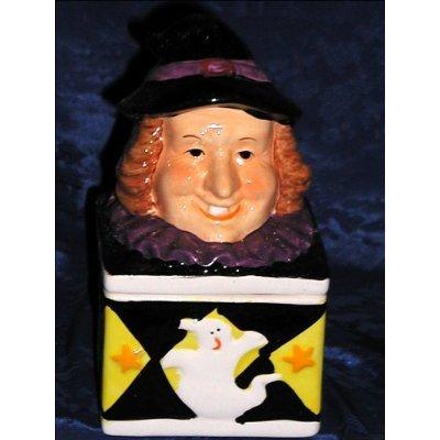 WITCH MAGIC HALLOWEEN GHOST HOLIDAY CERAMIC TRINKET BOX