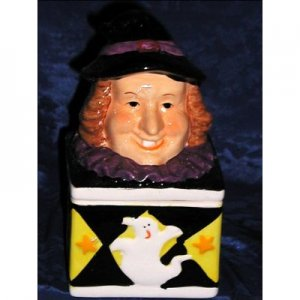 WITCH MAGIC HALLOWEEN GHOST HOLIDAY CERAMIC TRINKET BOX