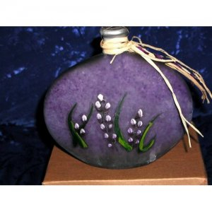 ART GLASS DECORATIVE BLUE FLORAL HAND PAINTED BOTTLE / SMALL CANDLE  FLOWER DECOR ACCENT HOLDER