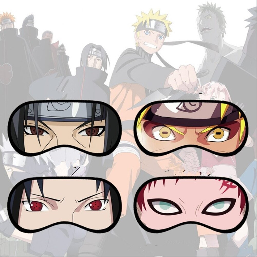 4pcs Naruto Eye Mask Uzumaki Sasuke Itachi Gaara Face Mask Eye Shield Sleep Props