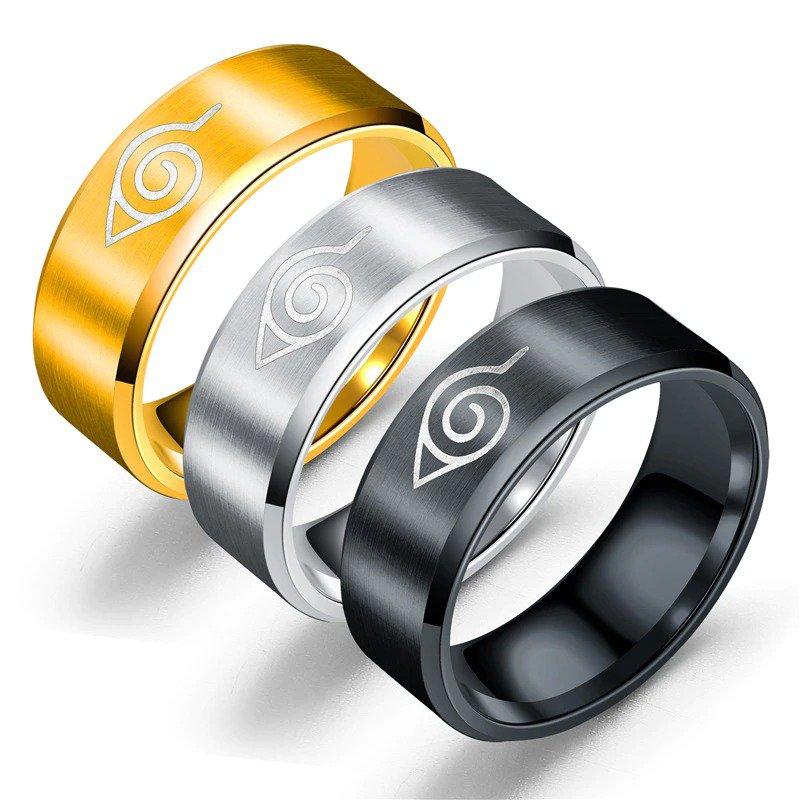 Naruto Ring Leaf Ring Konoha Uzumaki Symbal Sasuke Itachi Anime Jewelry Gift For Kids Adults